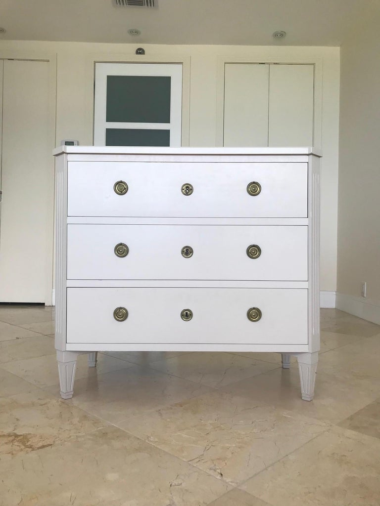 Late 20th Century 1970's Swedish Chest of Drawers in Hand Painted Ivory Wood For Sale