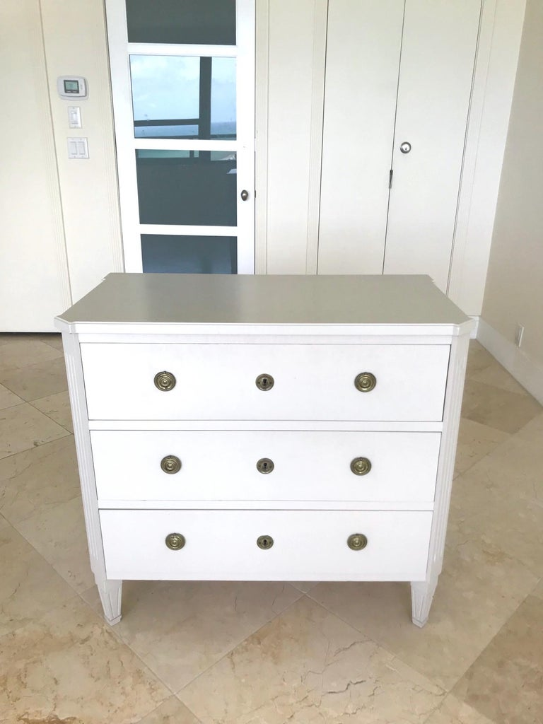Nickel 1970's Swedish Chest of Drawers in Hand Painted Ivory Wood For Sale