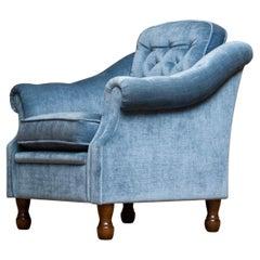 1970s Swedish Hollywood Regency Lounge Velvet Chair by Broderna Andersson
