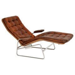 1970s Swedish Leather Chaise by Sam Larsson for DUX