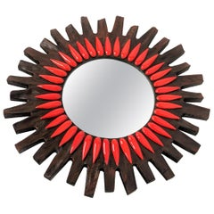 1970s Swedish Sunburst Wall Mirror
