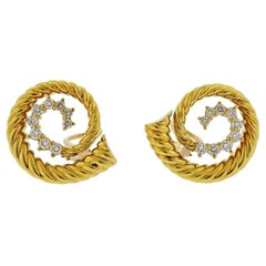 1970s Swirl Motif Diamond Gold Earrings