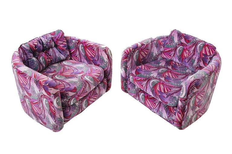 Mid-Century Modern 1970s Swivel Chairs in Jack Lenor Larsen Velvet