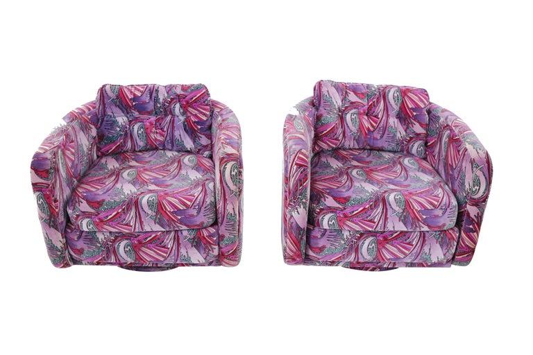 American 1970s Swivel Chairs in Jack Lenor Larsen Velvet
