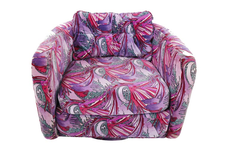 1970s Swivel Chairs in Jack Lenor Larsen Velvet In Good Condition In Chicago, IL