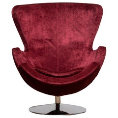 1970s, Swivel Lounge Egg Chair on Chrome Stand Colored in Bordeaux Red Baby Roy
