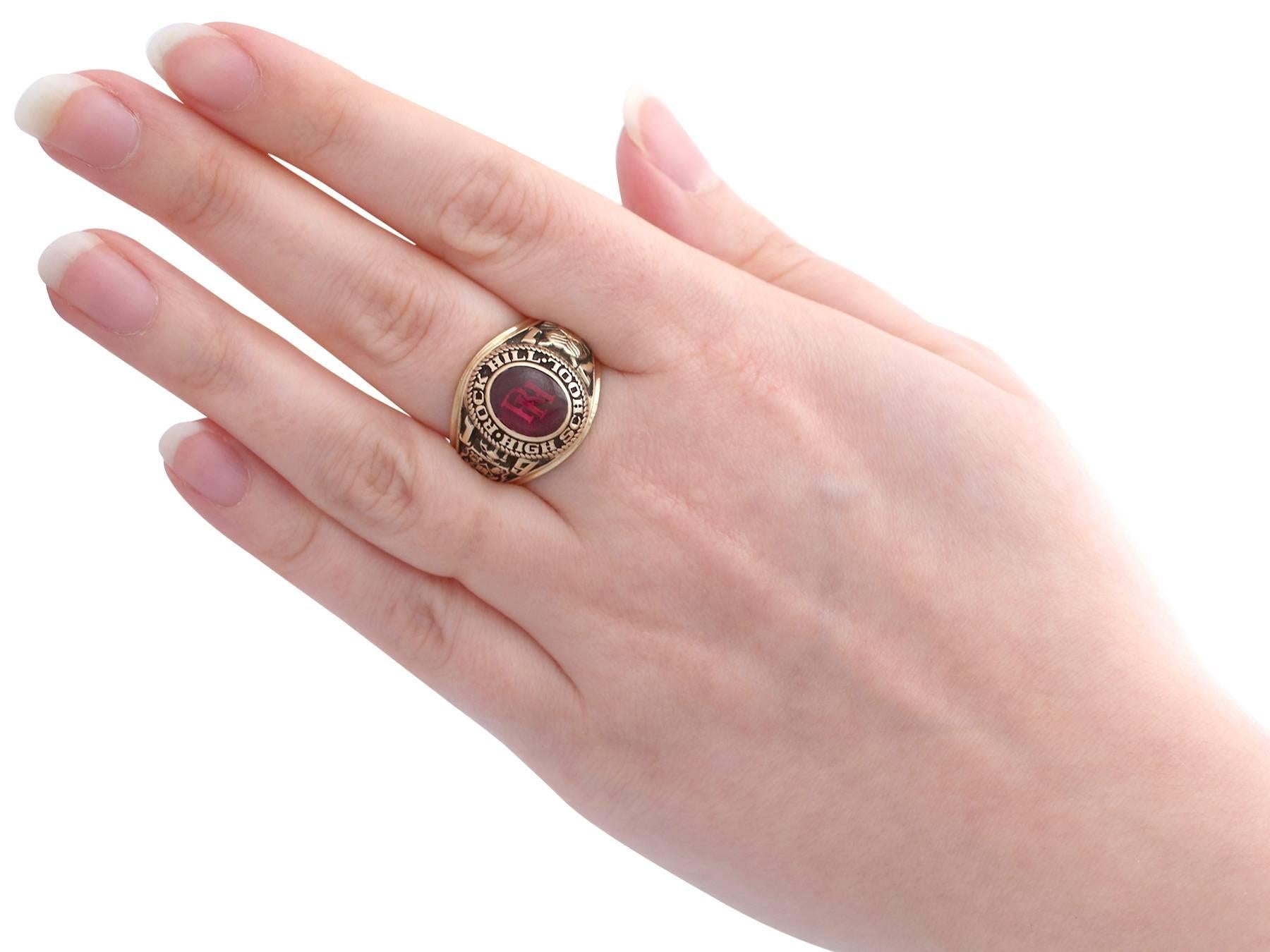 1970s Synthetic Ruby and Yellow Gold Graduation Ring For Sale at 1stdibs