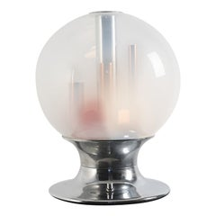 1970s Table Lamp by Selenova in Chrome, Brass and Clear Shaded Glass
