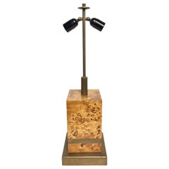 1970s Table Lamp by Willy Rizzo in Burl Wood and Brass Mid-Century Modern Italy