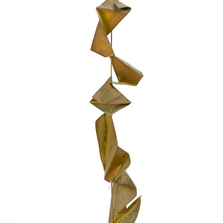 Late 20th Century 1970s Tabletop Metal Sculpture on Birch Drum Base For Sale