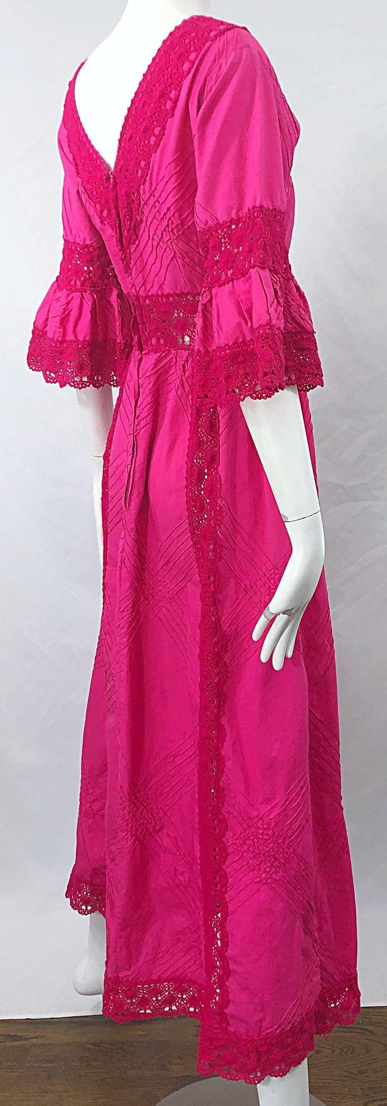 1970s Tachi Castillo Hot Pink Mexican Crochet Vintage Cotton 70s Maxi Dress For Sale 6
