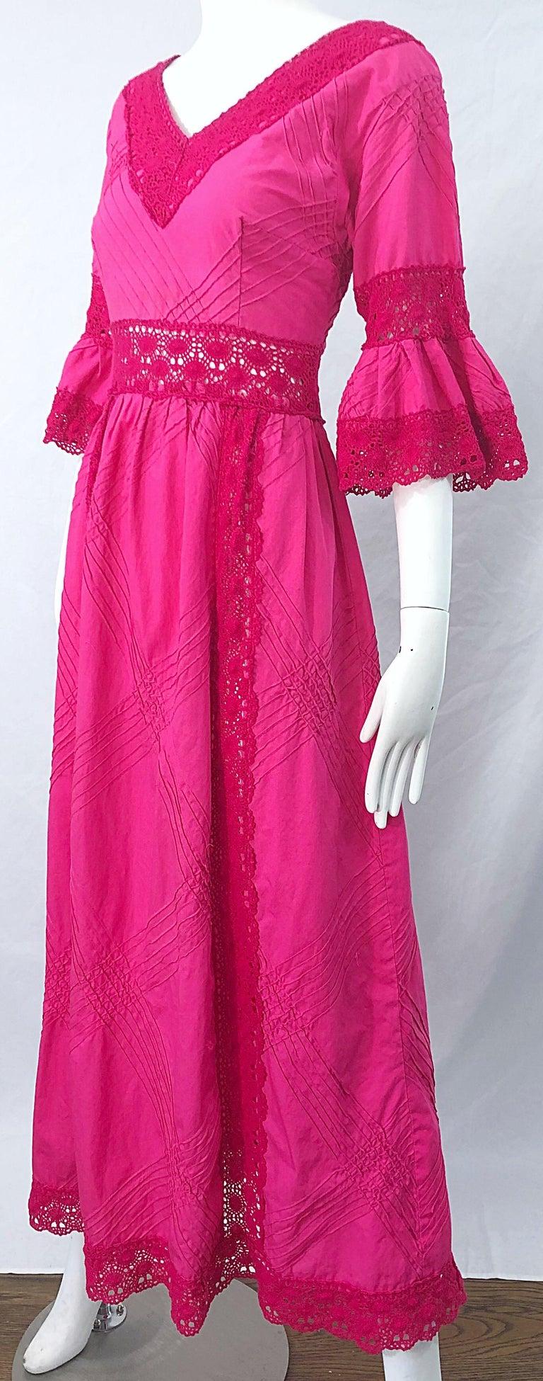 1970s Tachi Castillo Hot Pink Mexican Crochet Vintage Cotton 70s Maxi Dress For Sale 7