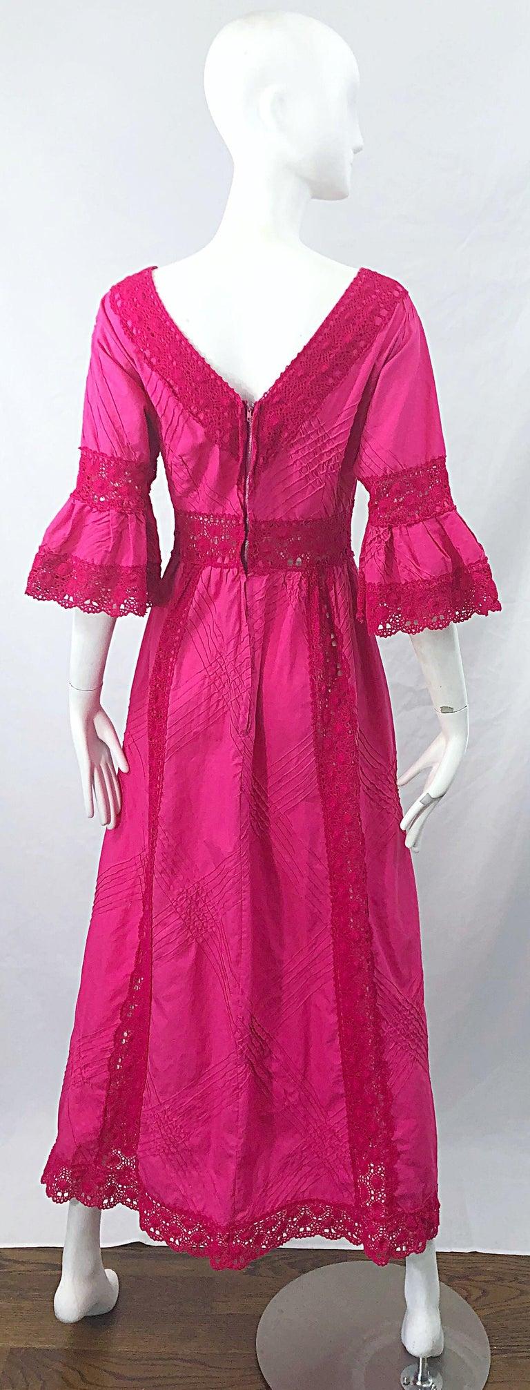 1970s Tachi Castillo Hot Pink Mexican Crochet Vintage Cotton 70s Maxi Dress For Sale 8