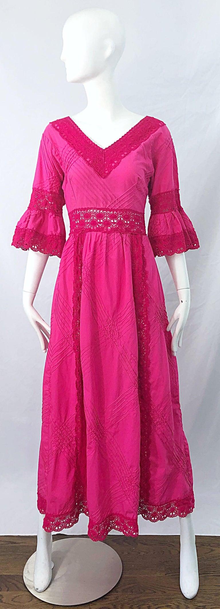 1970s Tachi Castillo Hot Pink Mexican Crochet Vintage Cotton 70s Maxi Dress For Sale 9