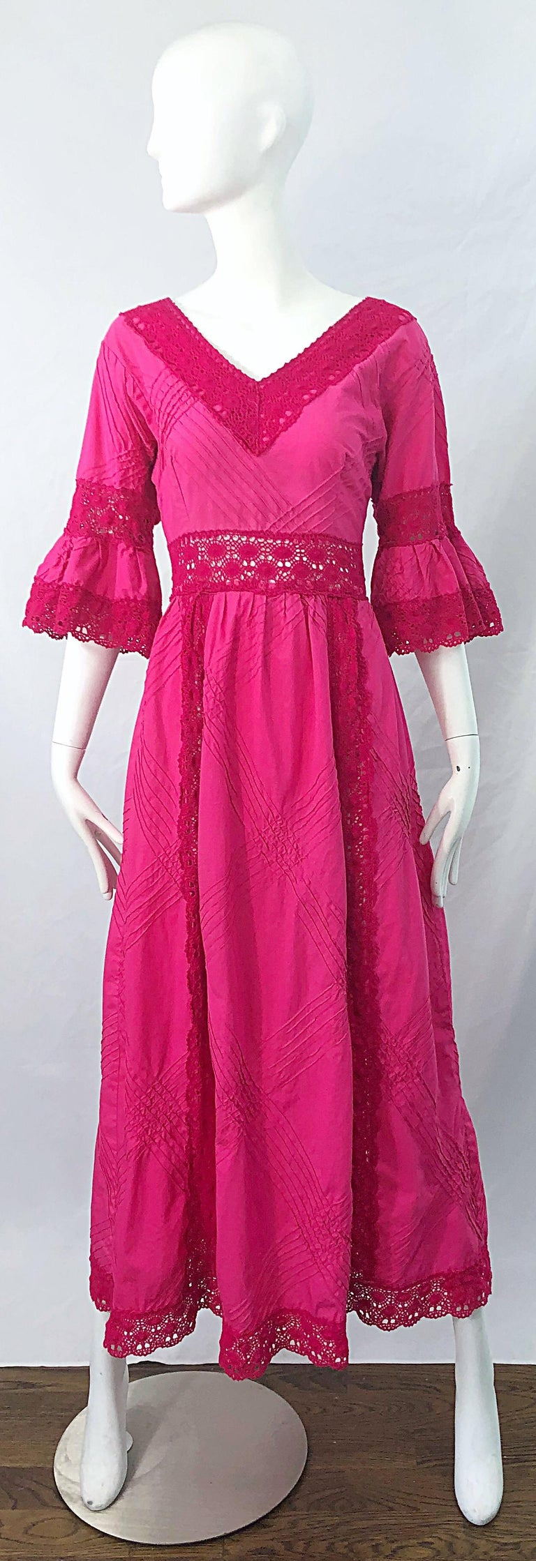 Chic 1970s TACHI CASTILLO hot pink 3/4 bell sleeve cotton crochet boho maxi dress ! Castillo was a Mexican designer who was famed for her textile works, and her ability to transform cotton for day jackets / dresses to evening dresses. This hot pink