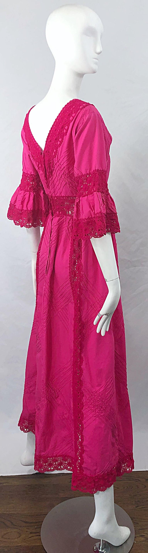 Women's 1970s Tachi Castillo Hot Pink Mexican Crochet Vintage Cotton 70s Maxi Dress For Sale