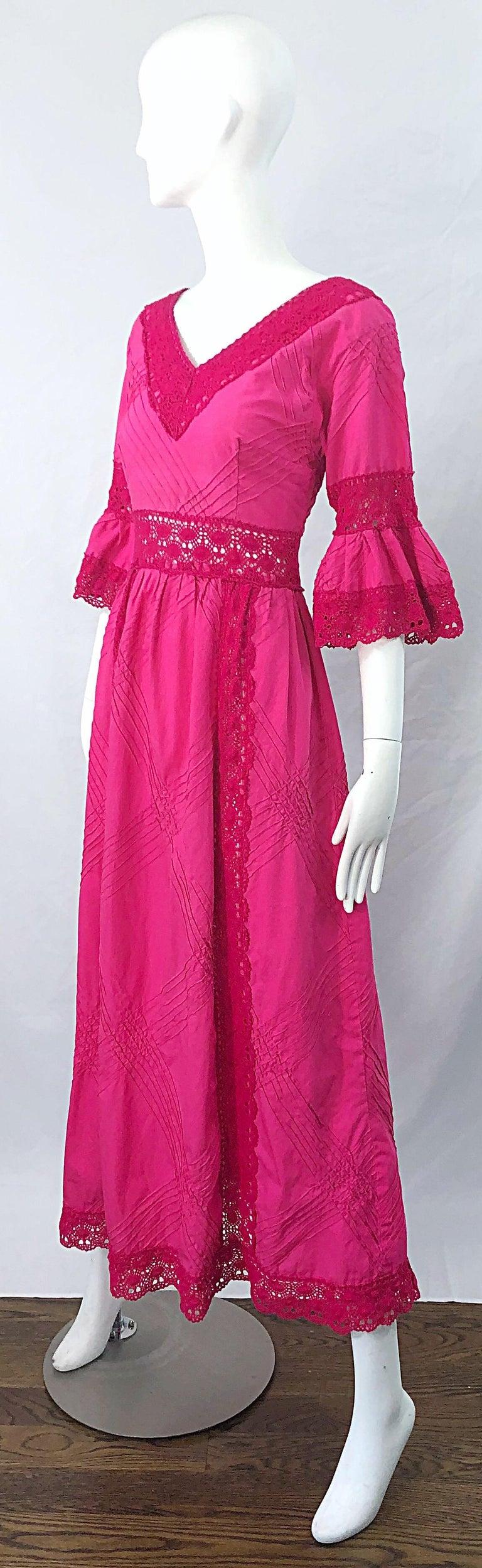 1970s Tachi Castillo Hot Pink Mexican Crochet Vintage Cotton 70s Maxi Dress For Sale 1