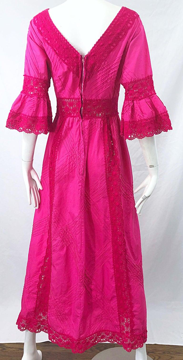 1970s Tachi Castillo Hot Pink Mexican Crochet Vintage Cotton 70s Maxi Dress For Sale 3