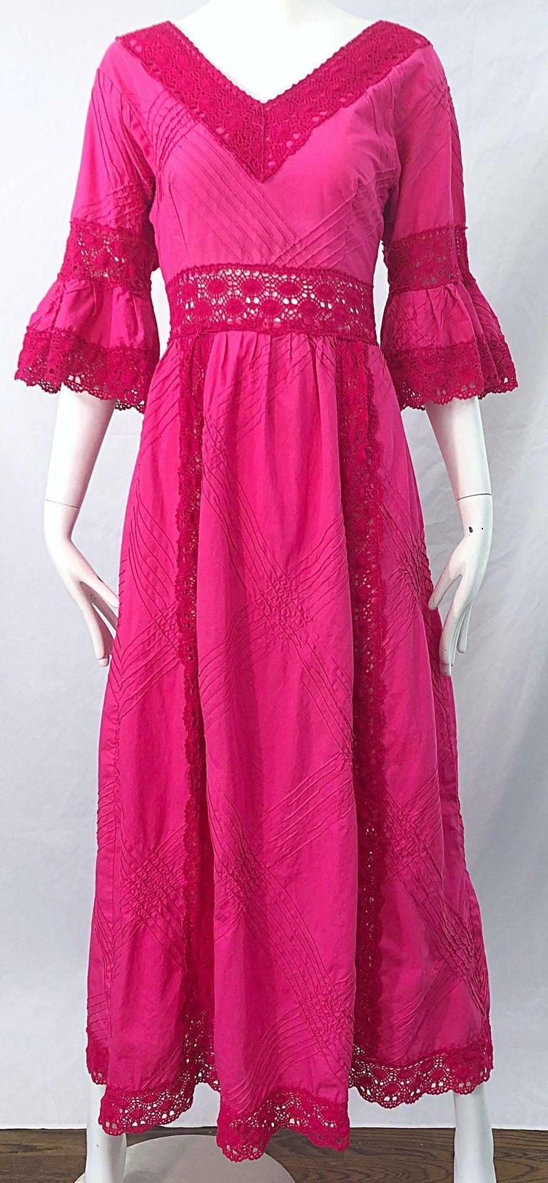 1970s Tachi Castillo Hot Pink Mexican Crochet Vintage Cotton 70s Maxi Dress For Sale 4