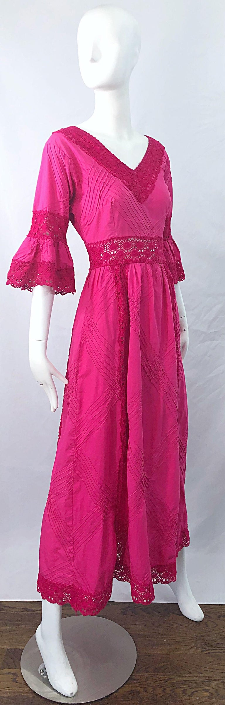 1970s Tachi Castillo Hot Pink Mexican Crochet Vintage Cotton 70s Maxi Dress For Sale 5