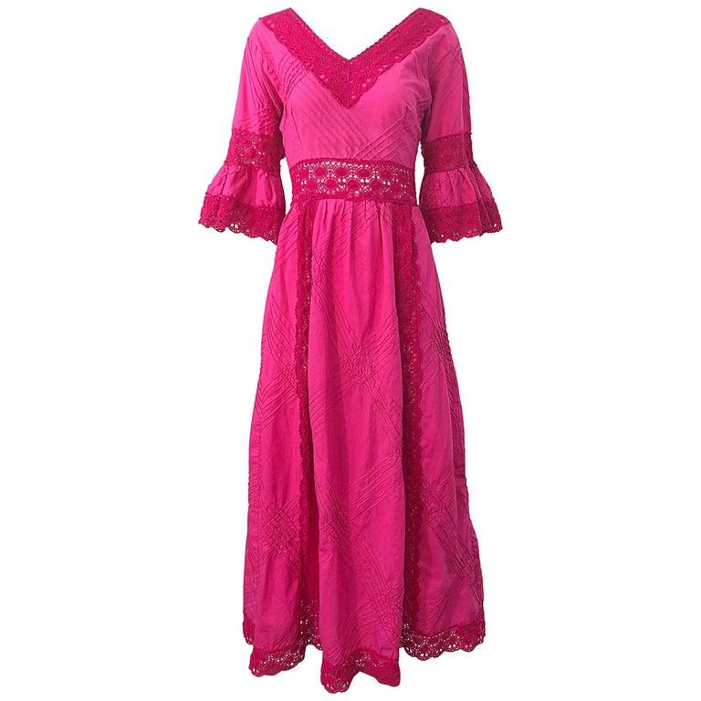 1970s Tachi Castillo Hot Pink Mexican Crochet Vintage Cotton 70s Maxi Dress For Sale