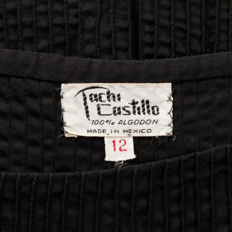 Gorgeous vintage Tachi Castillo black cotton pin tuck dress with sheer crochet