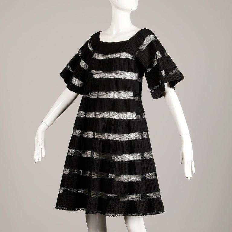 1970s Tachi Castillo Vintage Black Crochet Lace Dress In Excellent Condition For Sale In Sparks, NV