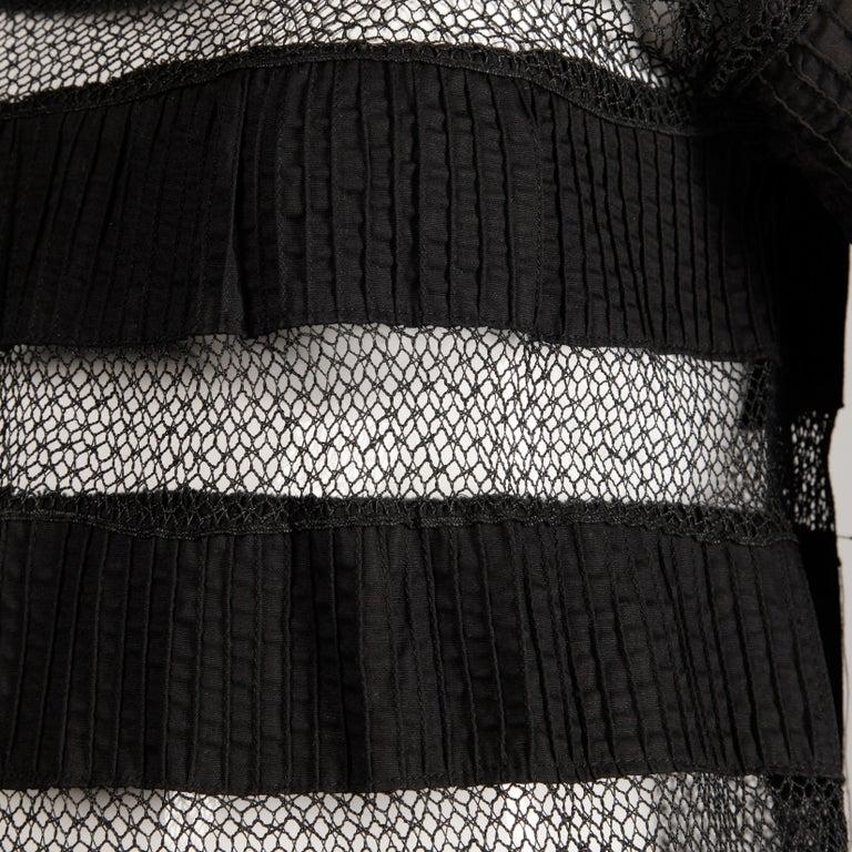 Women's 1970s Tachi Castillo Vintage Black Crochet Lace Dress For Sale