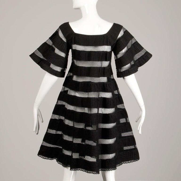1970s Tachi Castillo Vintage Black Crochet Lace Dress For Sale 1