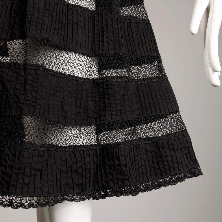 1970s Tachi Castillo Vintage Black Crochet Lace Dress For Sale 2