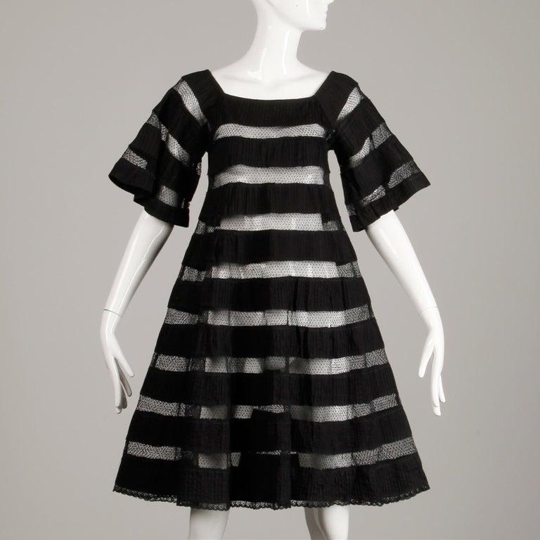 1970s Tachi Castillo Vintage Black Crochet Lace Dress For Sale 3