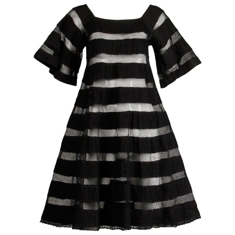 1970s Tachi Castillo Vintage Black Crochet Lace Dress For Sale