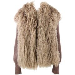 1970s Tailoring Brown Jacket in Mongolia Fur