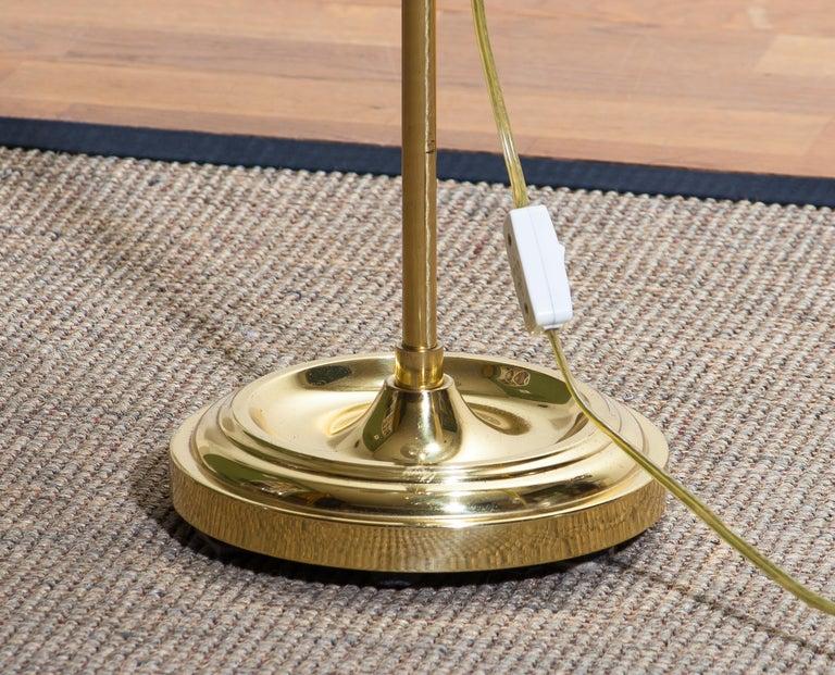 1970s Tall Brass Hollywood Regency Swing Arm Floor Lamp By