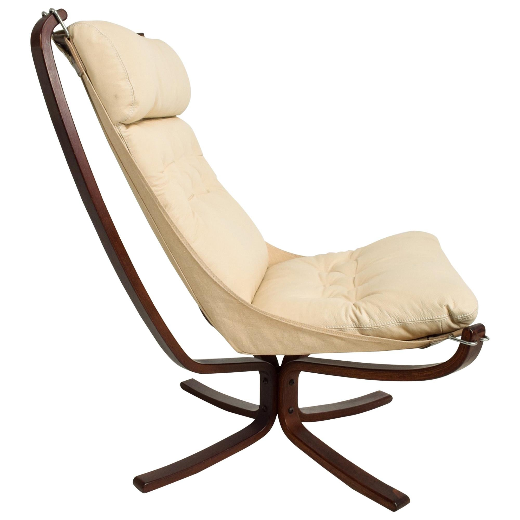 1970s Tall Falcon Chair Sigurd Ressell for Vatne Møbler Ivory Leather Norway