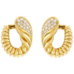1970s Tallarico 18 Karat Gold and Diamond Earrings