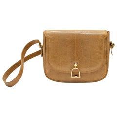 1970s Tan/Taupe Embossed Skin Shoulder Bag