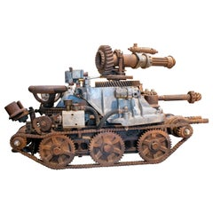 1970s Tank with Cannon Sculpture Made with Assorted Old Mechanical Metal Pieces