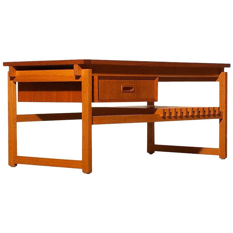 Mid-Century Modern 1970s Teak Coffee or Side Table with Drawer Made in Denmark