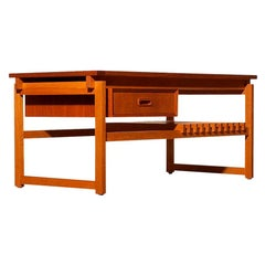 1970s Teak Coffee Side Table with Drawer Made in Denmark