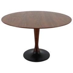 1970s Teak Round Dining Table, Czechoslovakia