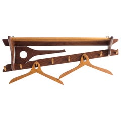 1970s Teak Wall Mounted Coat Rack for Electrimeufa