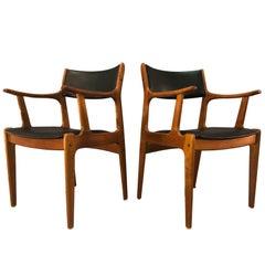 1970s Teak Wood Armchairs, Pair