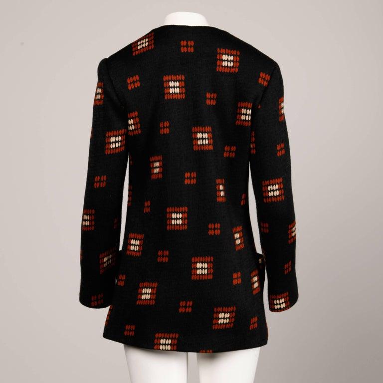 1970s Teal Traina Vintage Wool Knit Cardigan Sweater Blazer Jacket For Sale 1