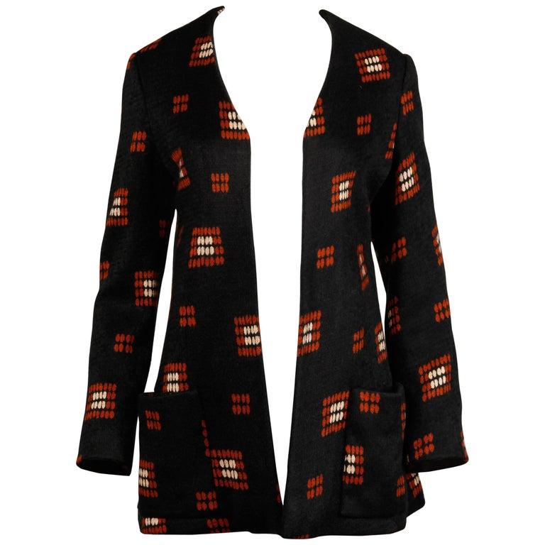 1970s Teal Traina Vintage Wool Knit Cardigan Sweater Blazer Jacket For Sale 3