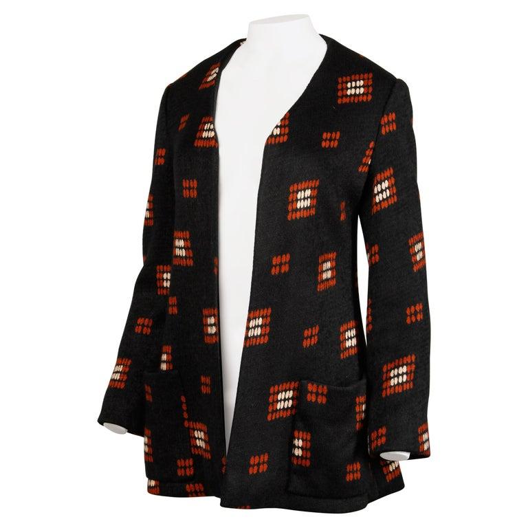 1970s Teal Traina Vintage Wool Knit Cardigan Sweater Blazer Jacket For Sale