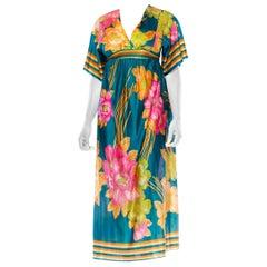 1970S Teal Tropical Acetate Tricot Jersey Boho Kaftan Dress