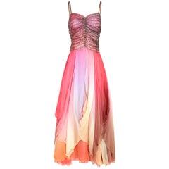 1970s Ted Lapidus Fairytale Pastel Silk Chiffon Dress