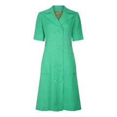1970s Ted Lapidus Green Linen Coat Dress