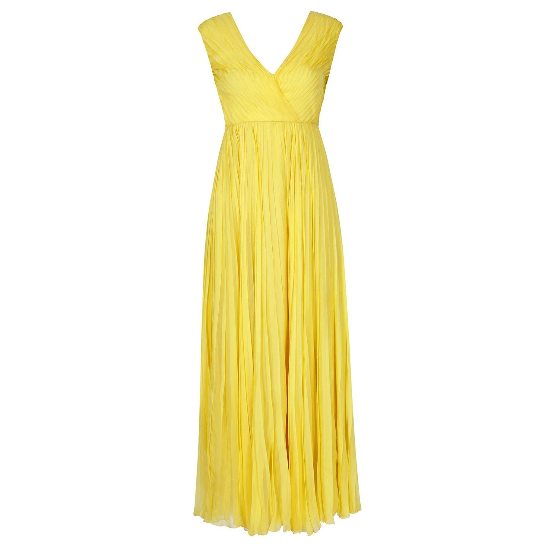 1970s Ted Lapidus Lemon Yellow Pleated Chiffon Dress